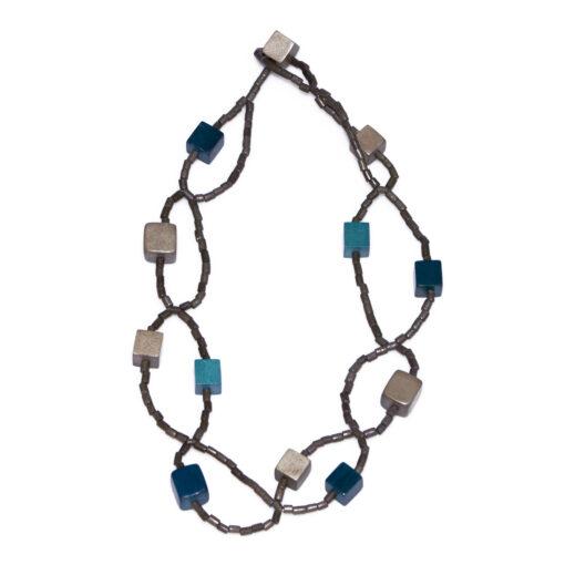 """Kyokya dřevěný náhrdelník """"Cubic"""" modrý K042"""