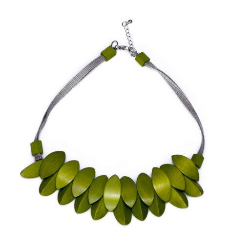 """Kyokya dřevěný náhrdelník """"Cheyenne"""" zelený K016"""