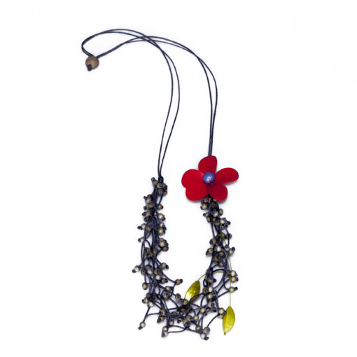Kyokya dřevěný náhrdelník Florette červený