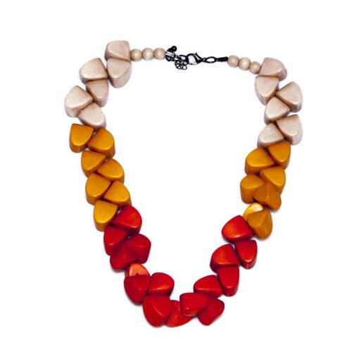 """KYOKYA dřevěný náhrdelník """"Jule"""" oranžový K057"""